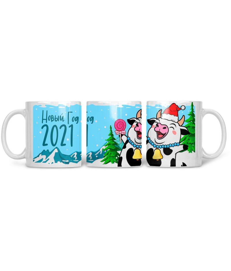 Кружка с принтом Коровка в колпаке Новый год 2021